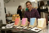 Undone Chocolate Founder Adam Kavalier shows off updated packaging for his bars. Source: E. Crawford